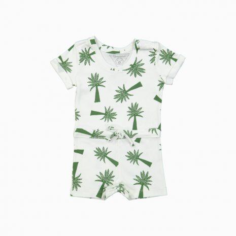 Macaquinho shorts em algodão pima orgânico estampa palmeiras