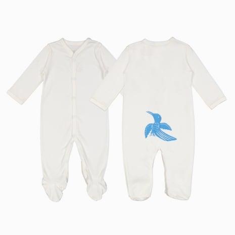 Macacão pijama em algodão pima orgânico serigrafia passaro