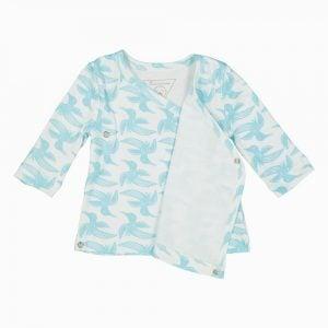 Cardigan Kimono de algodão ima orgânico estampa Passaros
