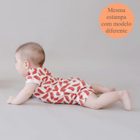 """macaquinho shorts em algodão pima orgânico estampa melancias com tag """"mesma estampa com modelo diferente"""""""