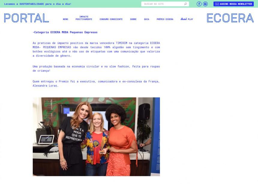 Prêmio ECOERA, novembro 2018 (matéria oficial)