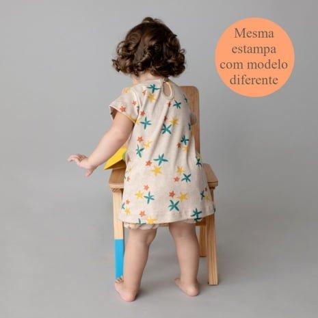 """vestido de algodão pima orgânico estampa estrelas do mar com tag """"mesma estampa com modelo diferente"""""""