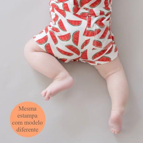 """macaquinho shorts de algodão pima orgânico estampa melancias com tag """"mesma estampa com modelo diferente"""""""