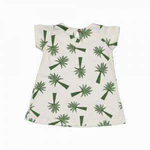Vestido de algodão pima orgânico estampa palmeiras