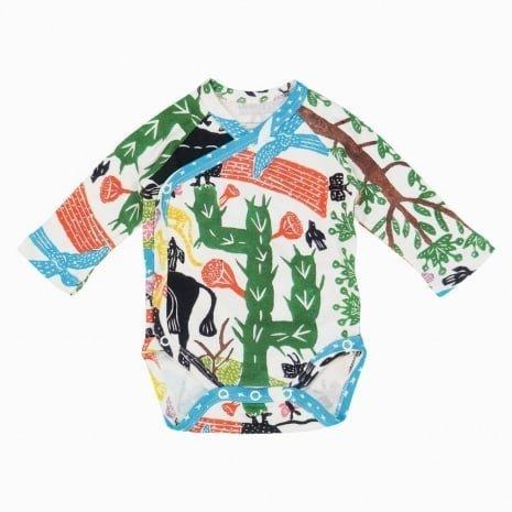 Body kimono manga longa paisagem bebe de frente Timirim algodão orgânico