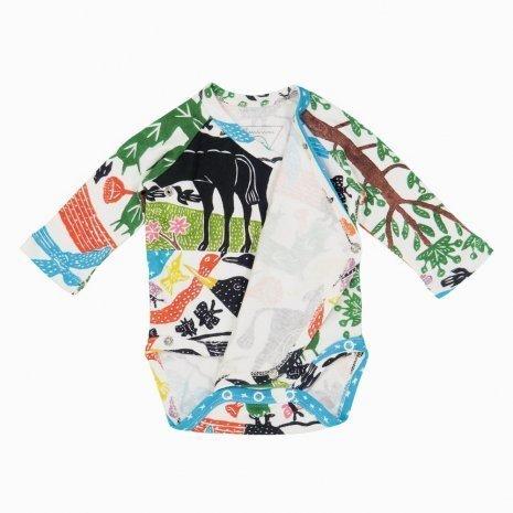 Body kimono manga longa paisagem aberto Timirim algodão pima orgânico