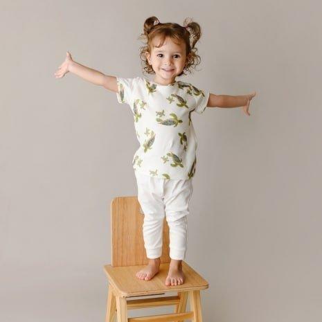 camiseta infantil tartarugas de algodão pima orgânico