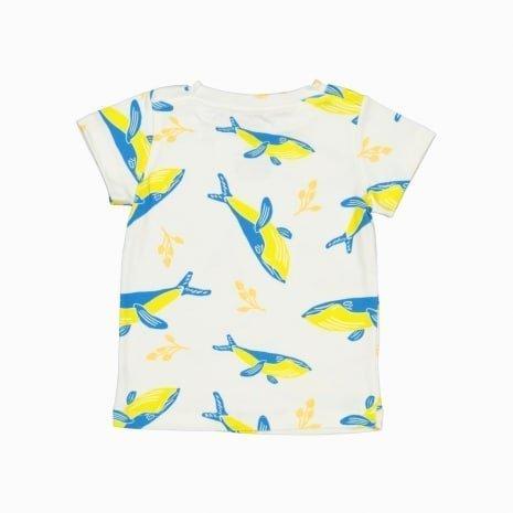 Camiseta Manga Curta Baleias Azuis algodão organico