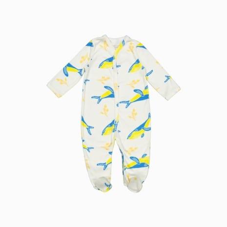 Macacão Pijama Baleias Azuis Algodão organico