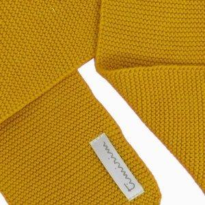cachecol de trico de algodao organico mostarda detalhe
