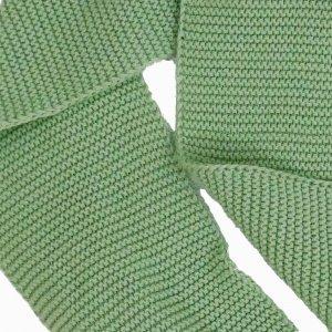 cachecol de trico de algodao organico verde detalhe