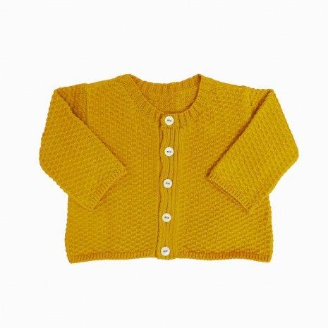 casaco de trico de algodao organico mostarda