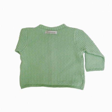casaco de trico de algodao organico verde costas