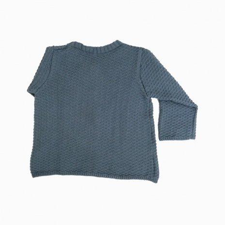 casaco de trico de algodao organico azul costas