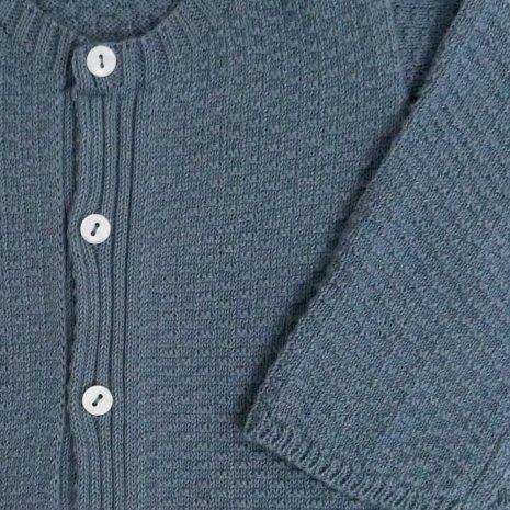 casaco de trico de algodao organico azul detalhe