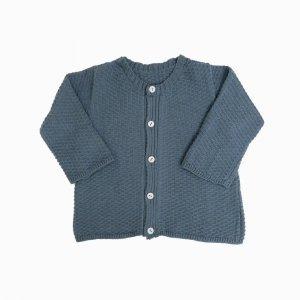 casaco de trico de algodao organico azul