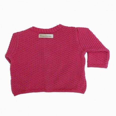 casaco de trico de algodao organico rosa costas