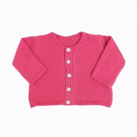 casaco de trico de algodao organico pink