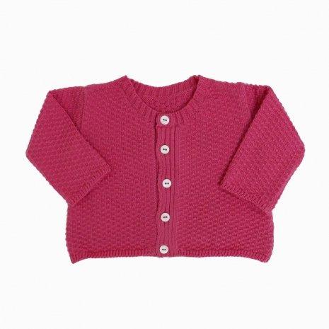 casaco de trico de algodao organico rosa