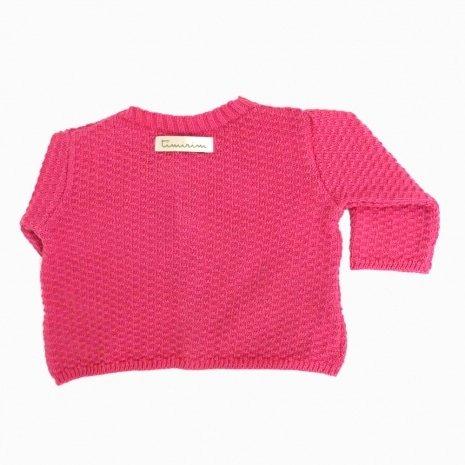 casaco de trico de algodao organico pink costas