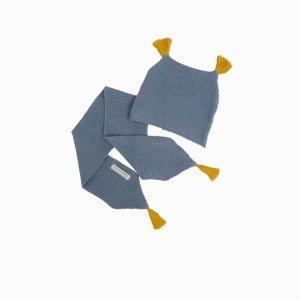 cachecol e touca de trico de algodao organico azul niagara