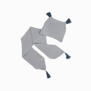 cachecol e touca de trico de algodao organico cinza