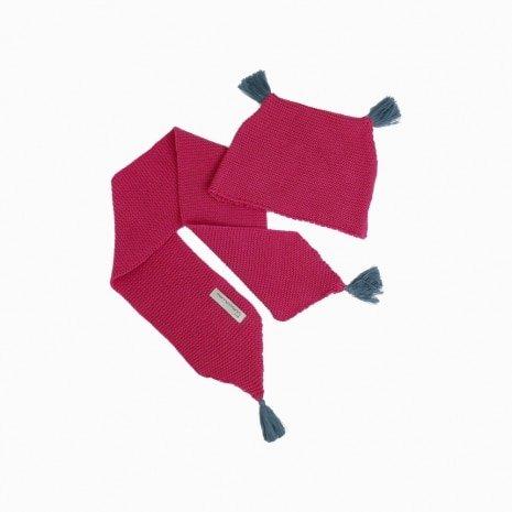 cachecol e touca de trico de algodao organico rosa