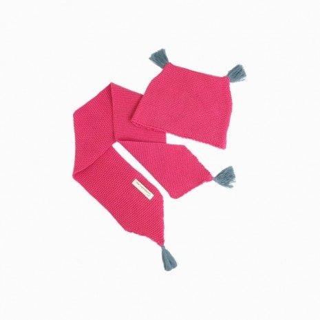 cachecol e touca de trico de algodao organico pink