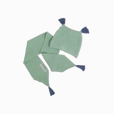 cachecol e touca de trico de algodao organico verde
