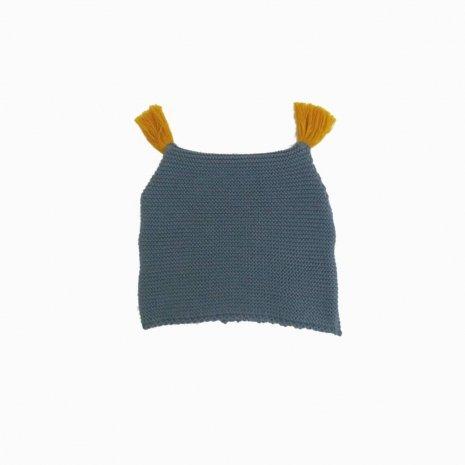 touca de trico de algodao organico azul frente