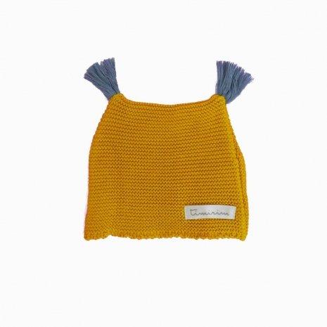 touca de trico de algodao organico mostarda costas