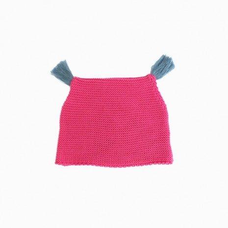 touca de trico de algodao organico pink