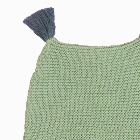 touca de trico de algodao organico verde detalhe
