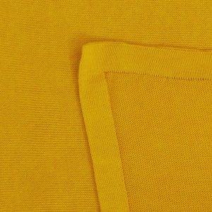 manta de trico de algodao organico mostarda detalhe