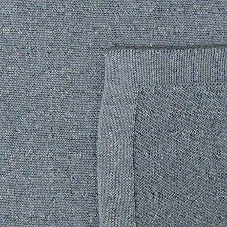 manta de trico de algodao organico azul detalhe