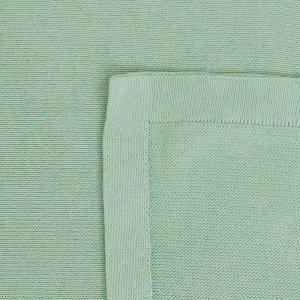 manta de trico de algodao organico verde detalhe