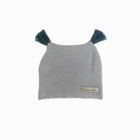 touca de trico de algodao organico cinza costas