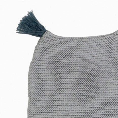 touca de trico de algodao organico cinza detalhe