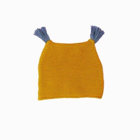 touca de trico de algodao organico mostarda