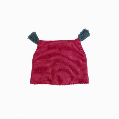 touca de trico de algodao organico rosa