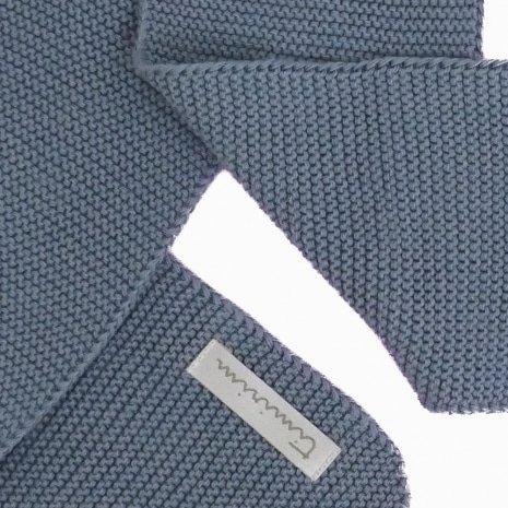 cachecol de trico de algodao organico azul niagara detalhe