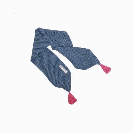 cachecol de trico de algodao organico azul niagara e rosa