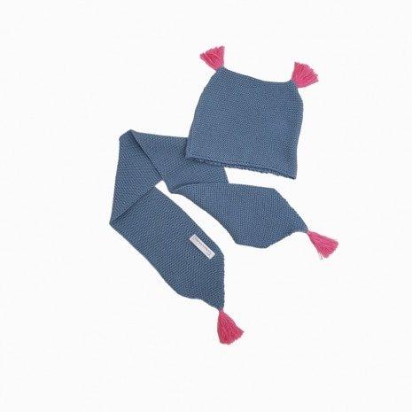 cachecol e touca de trico de algodao organico azul e rosa