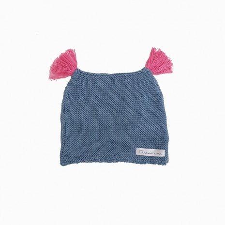 touca de trico de algodao organico azul e rosa costas