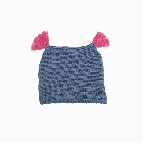 touca de trico de algodao organico azul e rosa