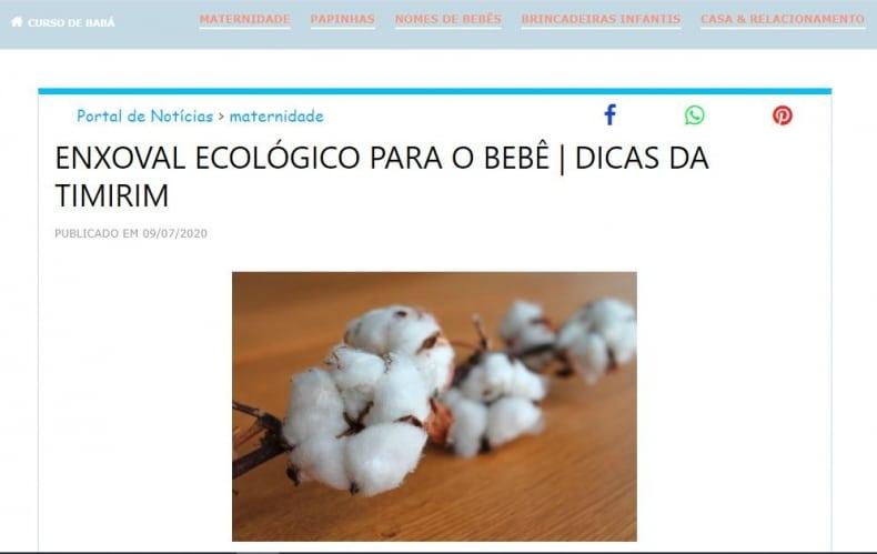 Curso de baba artigo de blog enxoval ecologico Timirim