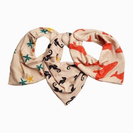 kit babadores bandana de algodão colorido orgânico