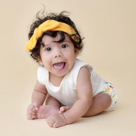 faixinha de cabelo bebê amarela
