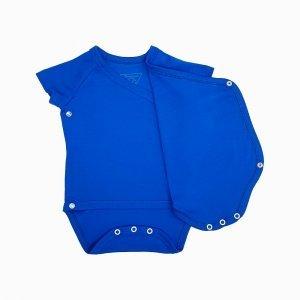 body kimono manga curta azul klein aberto